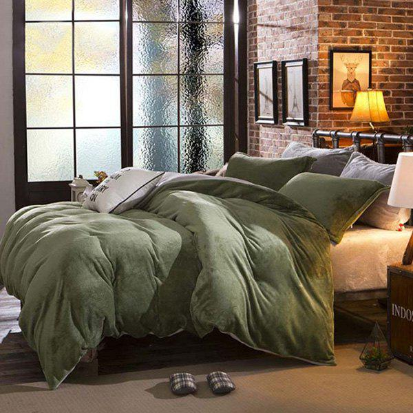 Comfortable Soft Home Decor Flannel 4PCS Bedding Set - ARMY GREEN QUEEN