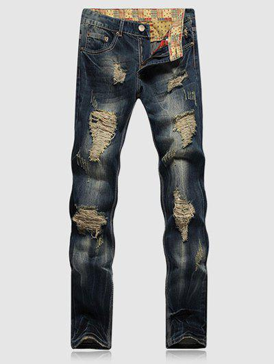 Scratched Zipper Fly Ripped Jeans - BLUE 33