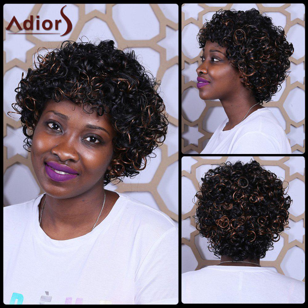 Short Mixcolor Full Bang Fluffy Afro Curly Synthetic Wig - COLORMIX