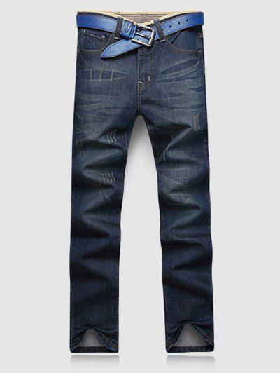 Fashion Slimming Color Block Hemming Cat's Whisker Design Straight Leg Jeans For Men - DEEP BLUE 38