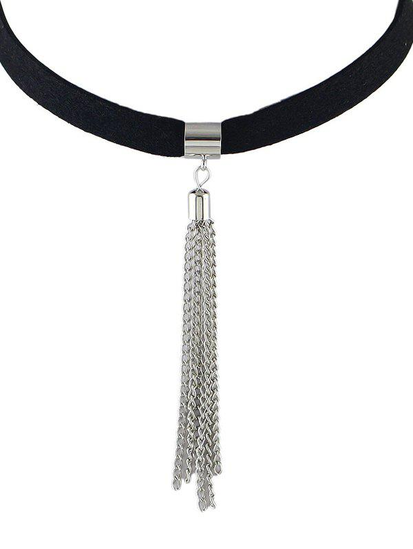 ALloy Tassel Choker Necklace - SILVER