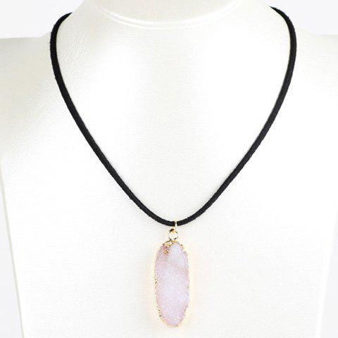 Oval Natural Stone Embellished Necklace - WHITE