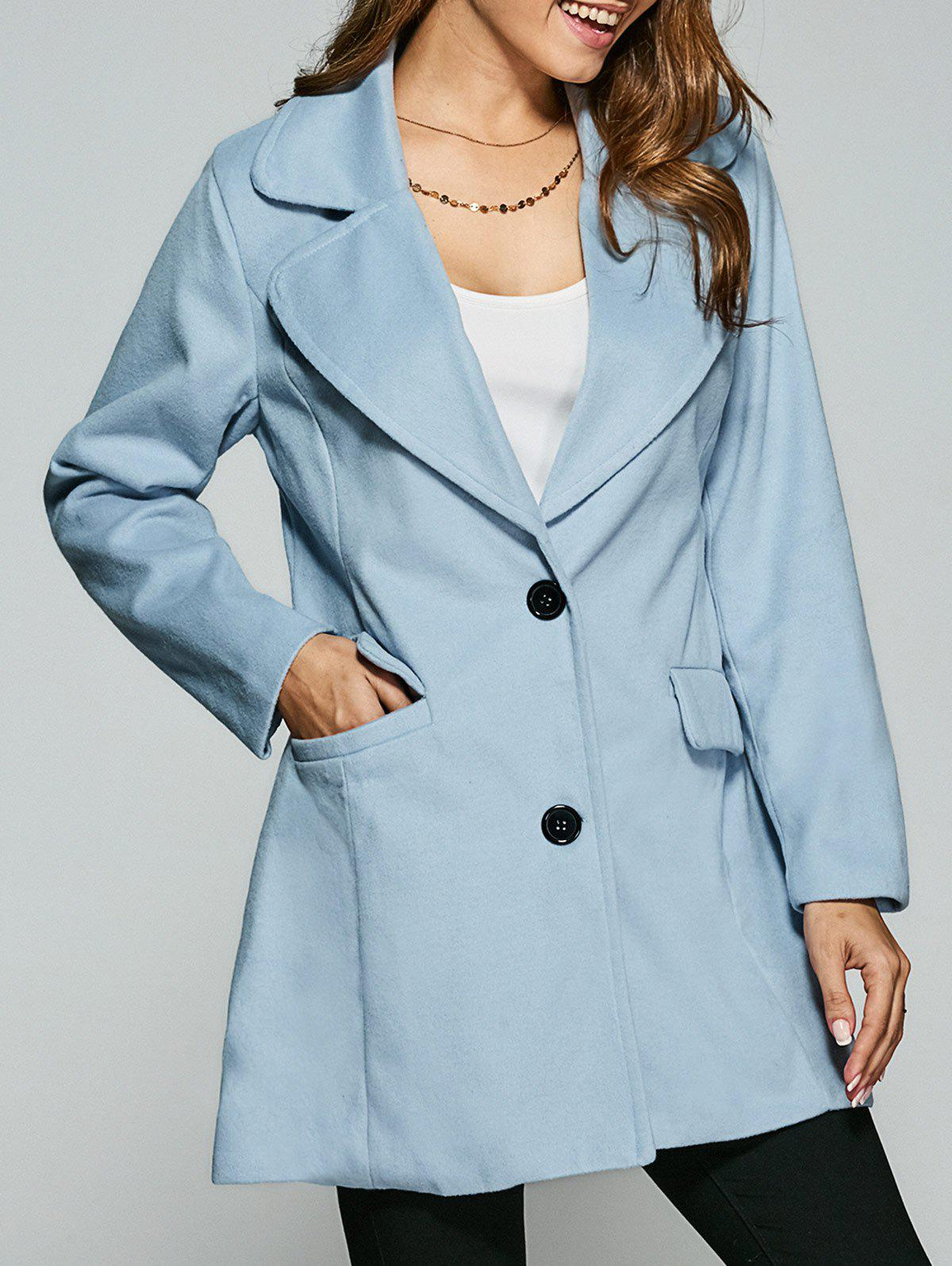 Wool Buttoned Pea Coat - LIGHT BLUE S