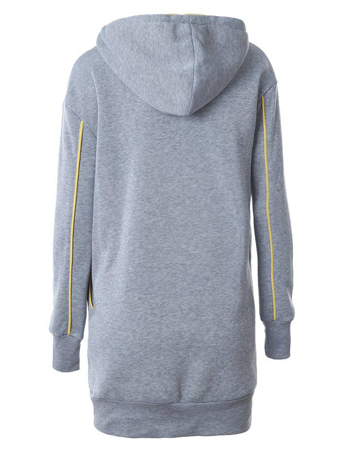 Lip Embroidered Fleece Drawstring Hoodie - GRAY M