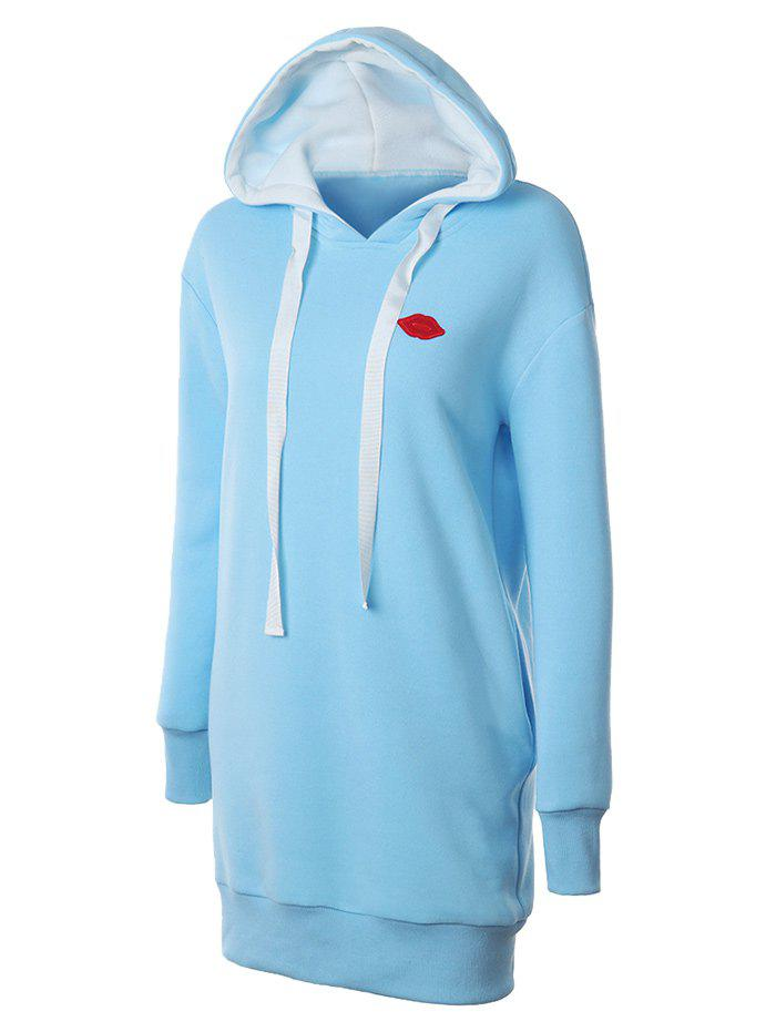 Lip Embroidered Fleece Drawstring Hoodie - LIGHT BLUE 2XL