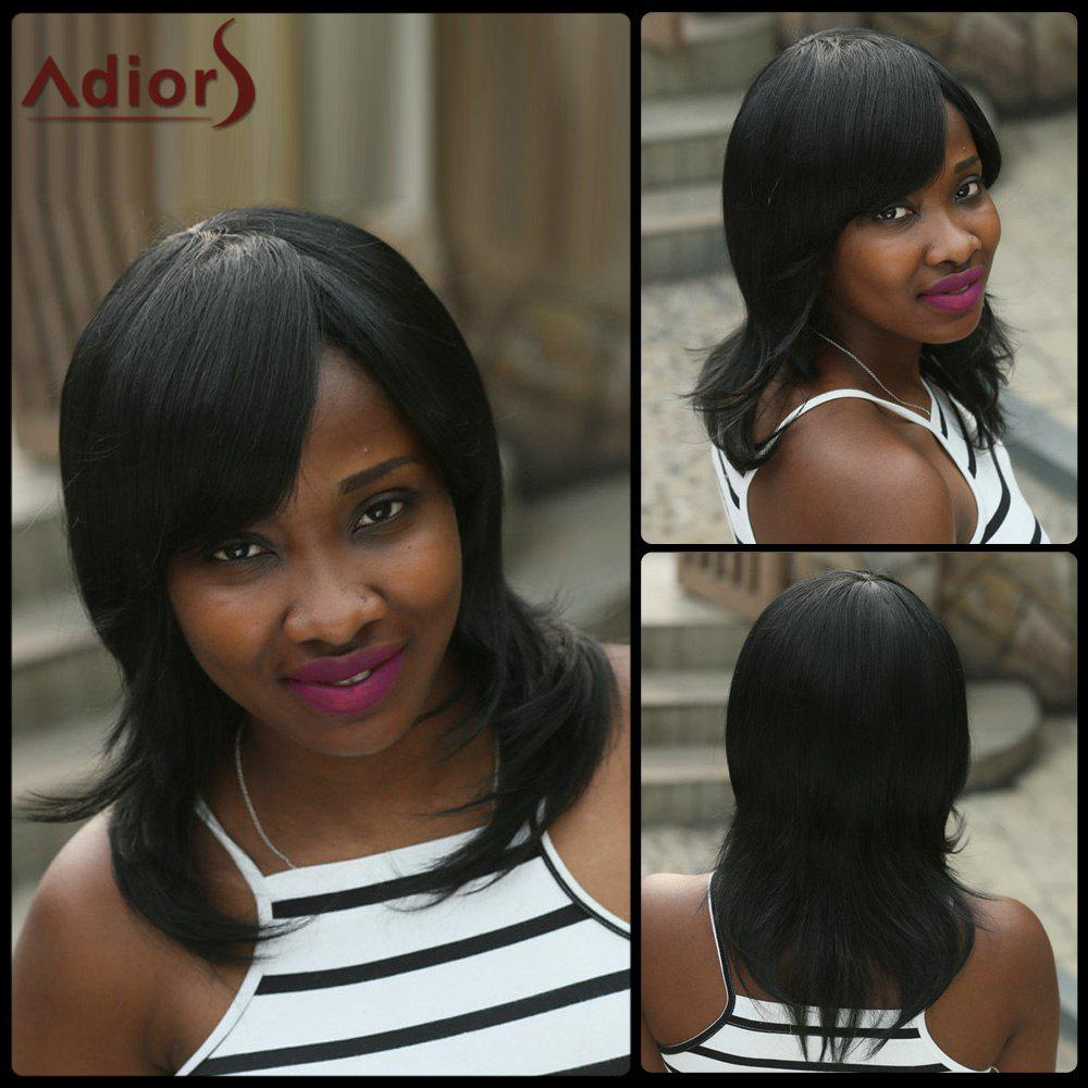 Medium Natural Straight Side Bang Adiors Synthetic Wig - BLACK