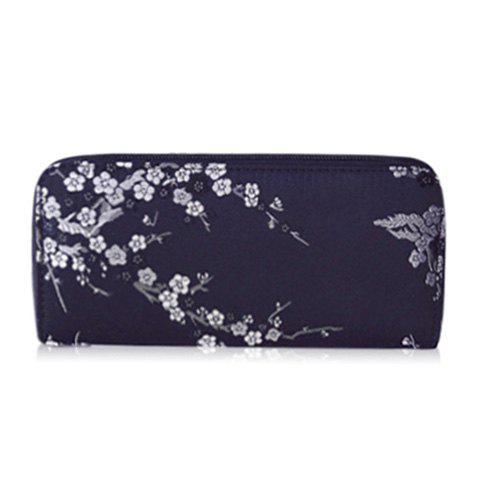Embroidery Color Block Plum Blossom WalletBags<br><br><br>Color: BLACK
