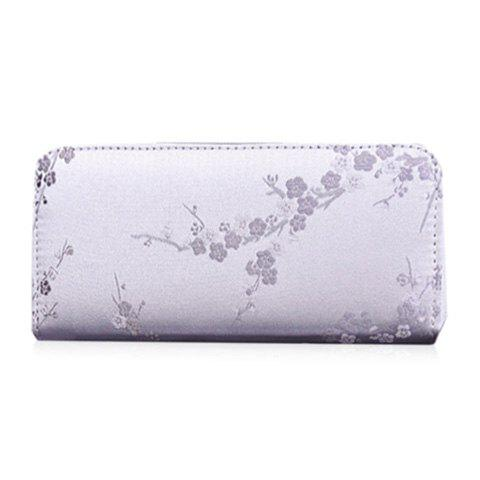 Broderie Color Block Plum Blossom Wallet - Gris Clair