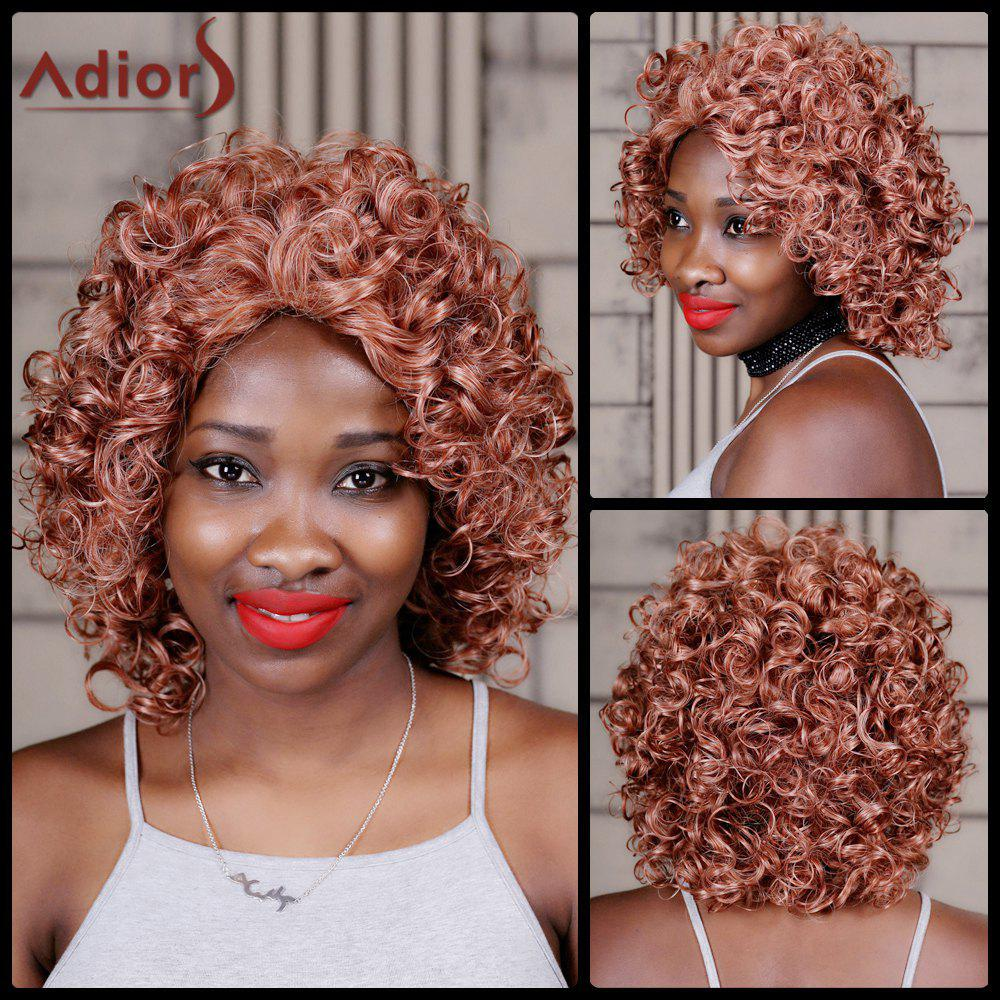 Adiors Curly Medium Colormix Inclined Bang Synthetic WigHair<br><br><br>Color: COLORMIX