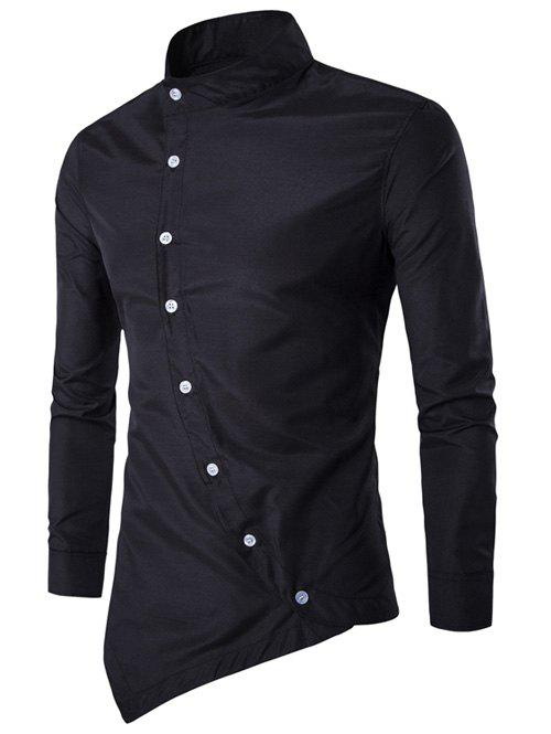 2018 Asymmetric Stand Collar Button Up Shirt Black Xl In