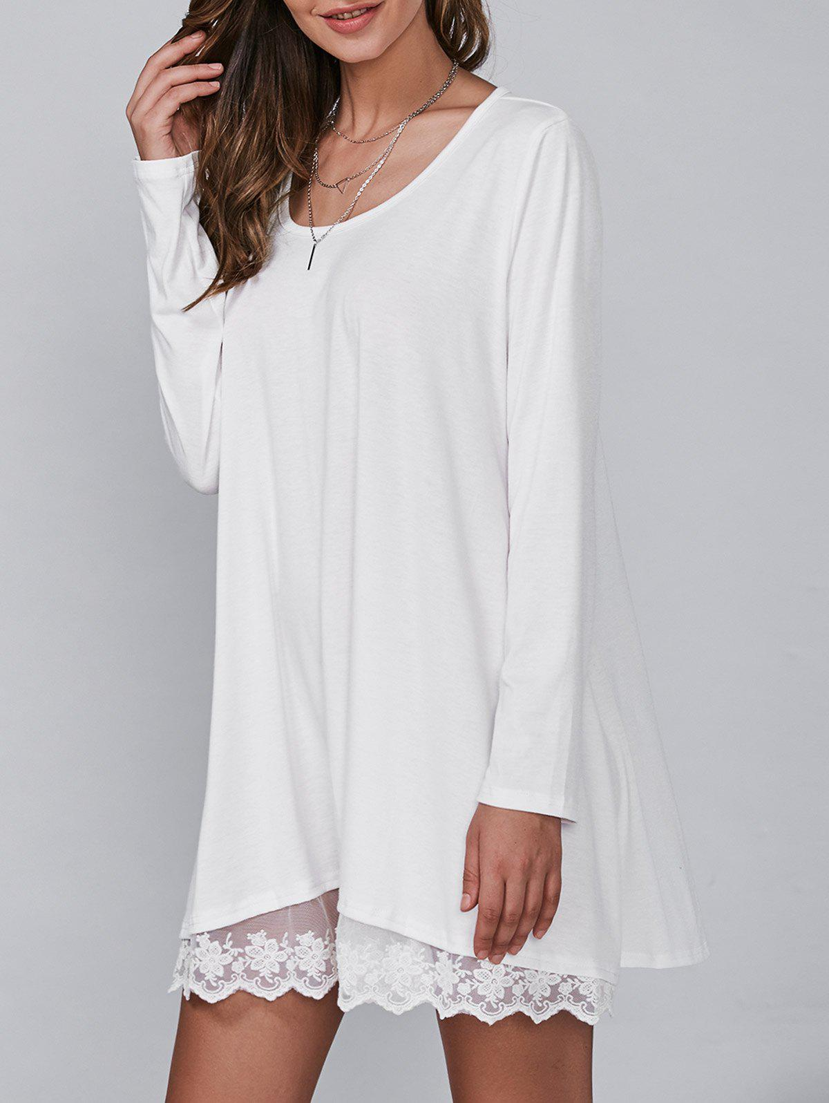 Autumn Lace Lower Hem Casual Dress With Sleeves - WHITE M