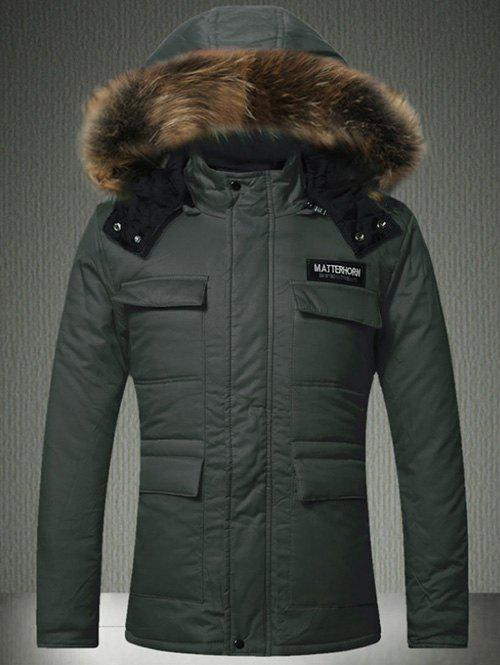 Buy Faux Fur Hooded Multi-Pocket Quilted Jacket ARMY GREEN