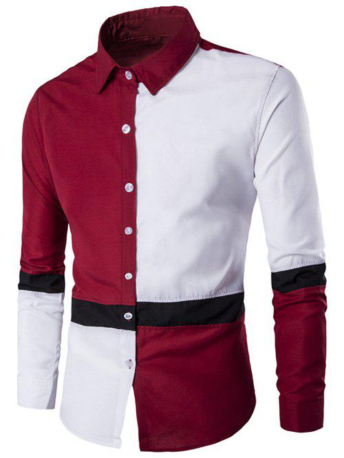 Button Up Long Sleeve Color Block Shirt - RED 2XL