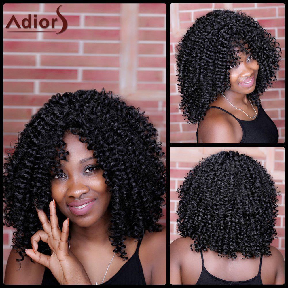 Adiors Oblique Bang Kinky Curly Long Synthetic Wig - BLACK