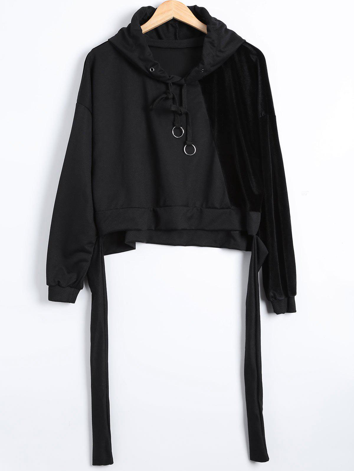 Autumn Circle Hoop Lace-Up Velvet Patched Reversible Crop Hoodie - BLACK L