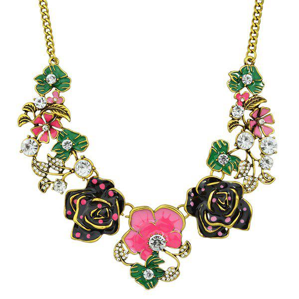 Rose Flower Leaf Rhinestone Necklace - HOT PINK