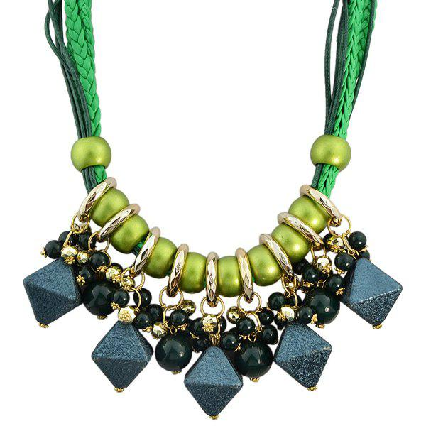 Faux Leather Braid Beads Geometric Necklace - GREEN
