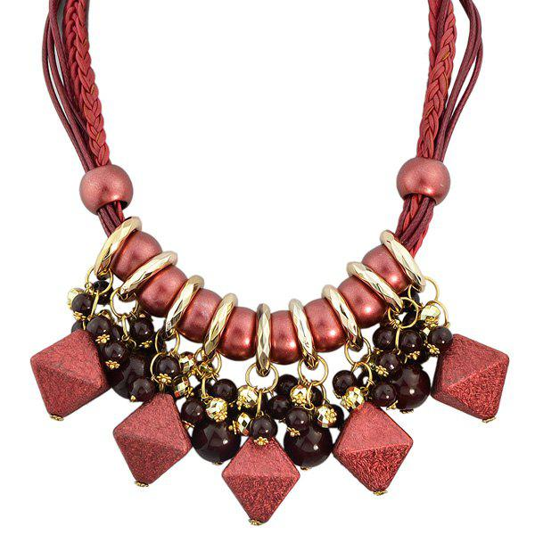 Faux Leather Braid Beads Geometric Necklace faux leather velvet geometric woven necklace