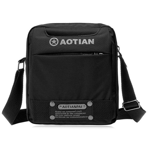 Dark Colour Metal Nylon Messenger Bag - BLACK