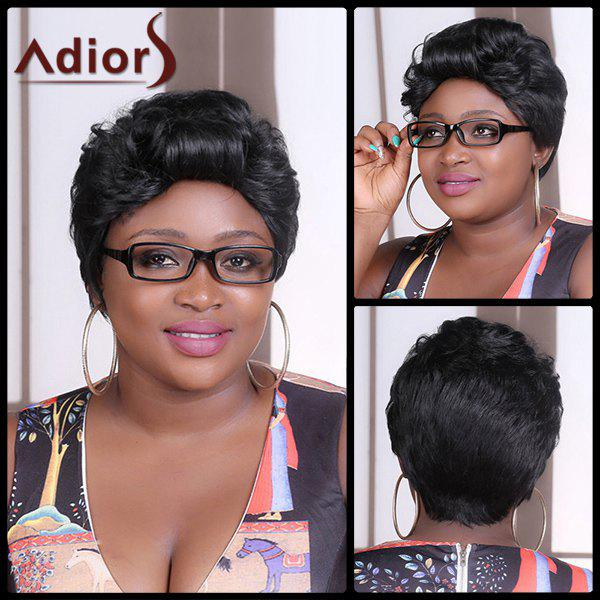 Adiors Shaggy Straight Short Synthetic WigHair<br><br><br>Color: BLACK