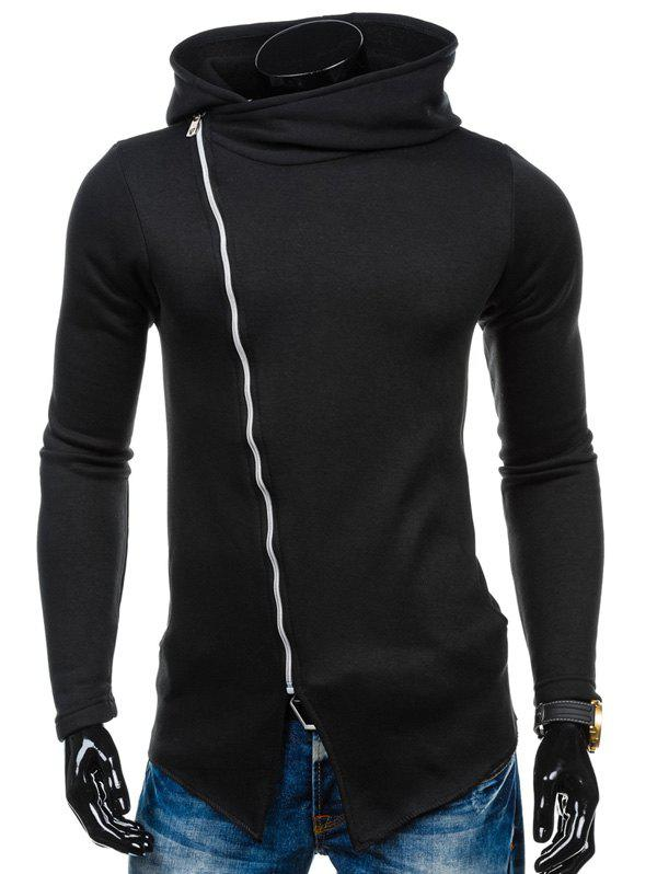 Side Asymmetric Zipper Up Hoodie - Noir M