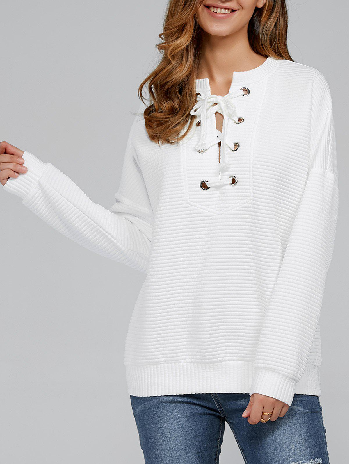 Lace-Up Ribbed Sweatshirt - WHITE XL