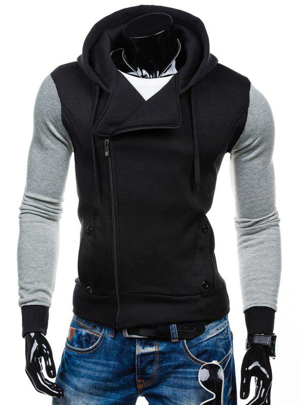 Color Block Side Zipper-Up Hoodie - Noir M