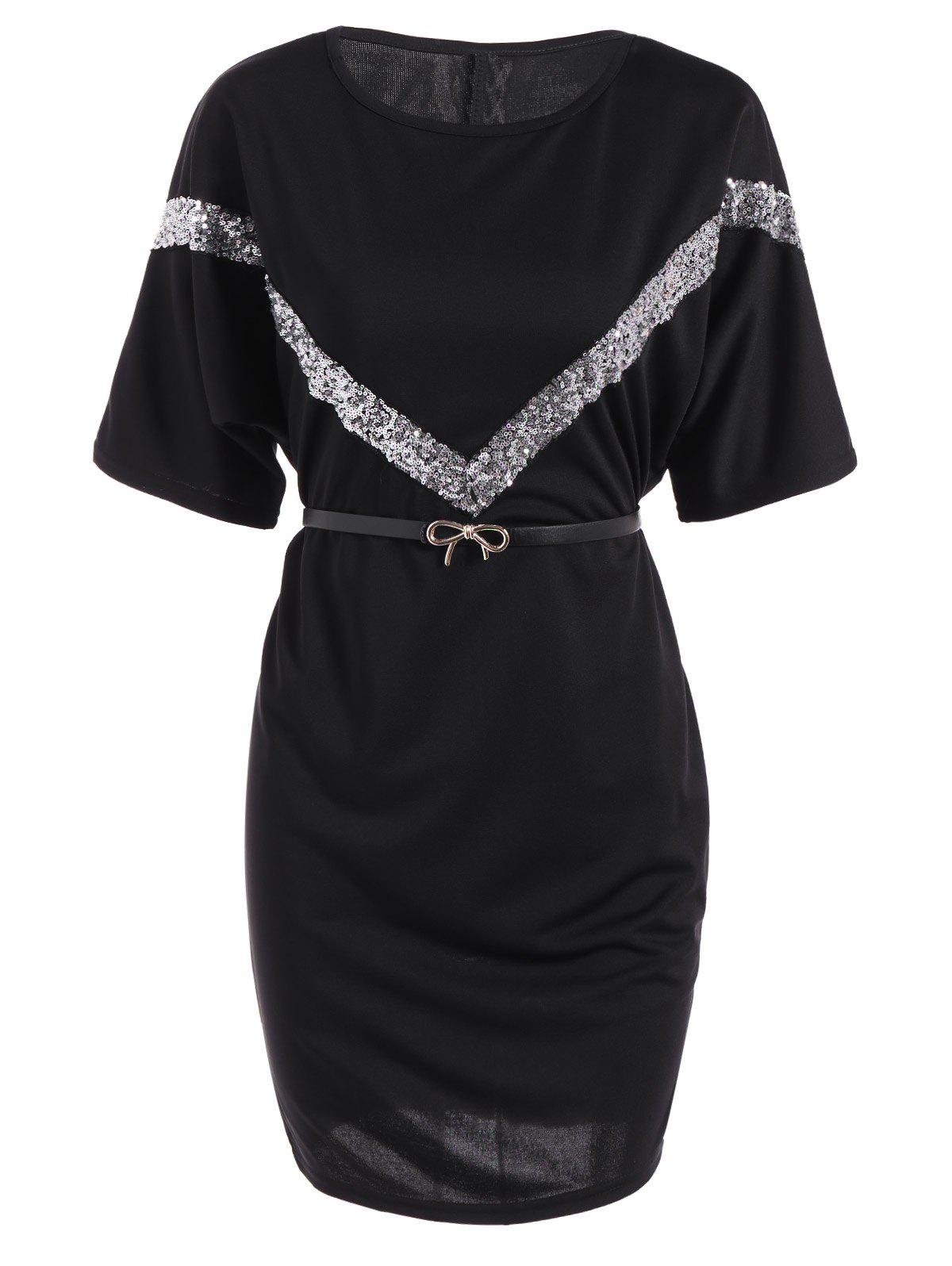 Belted Sequined Glitter V Embellished Dress - BLACK XL