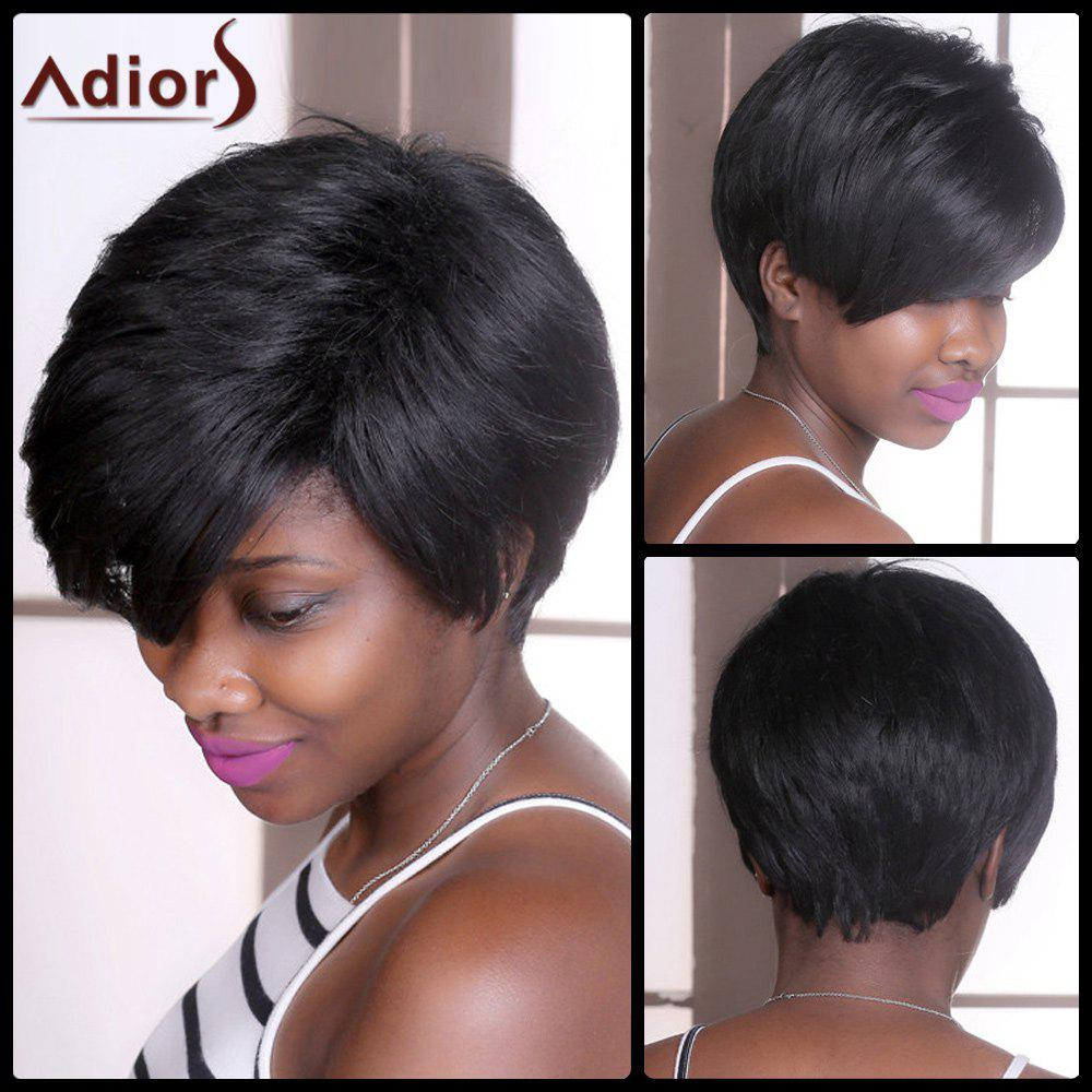 Adiors Straight Shaggy Short Synthetic Wig - BLACK