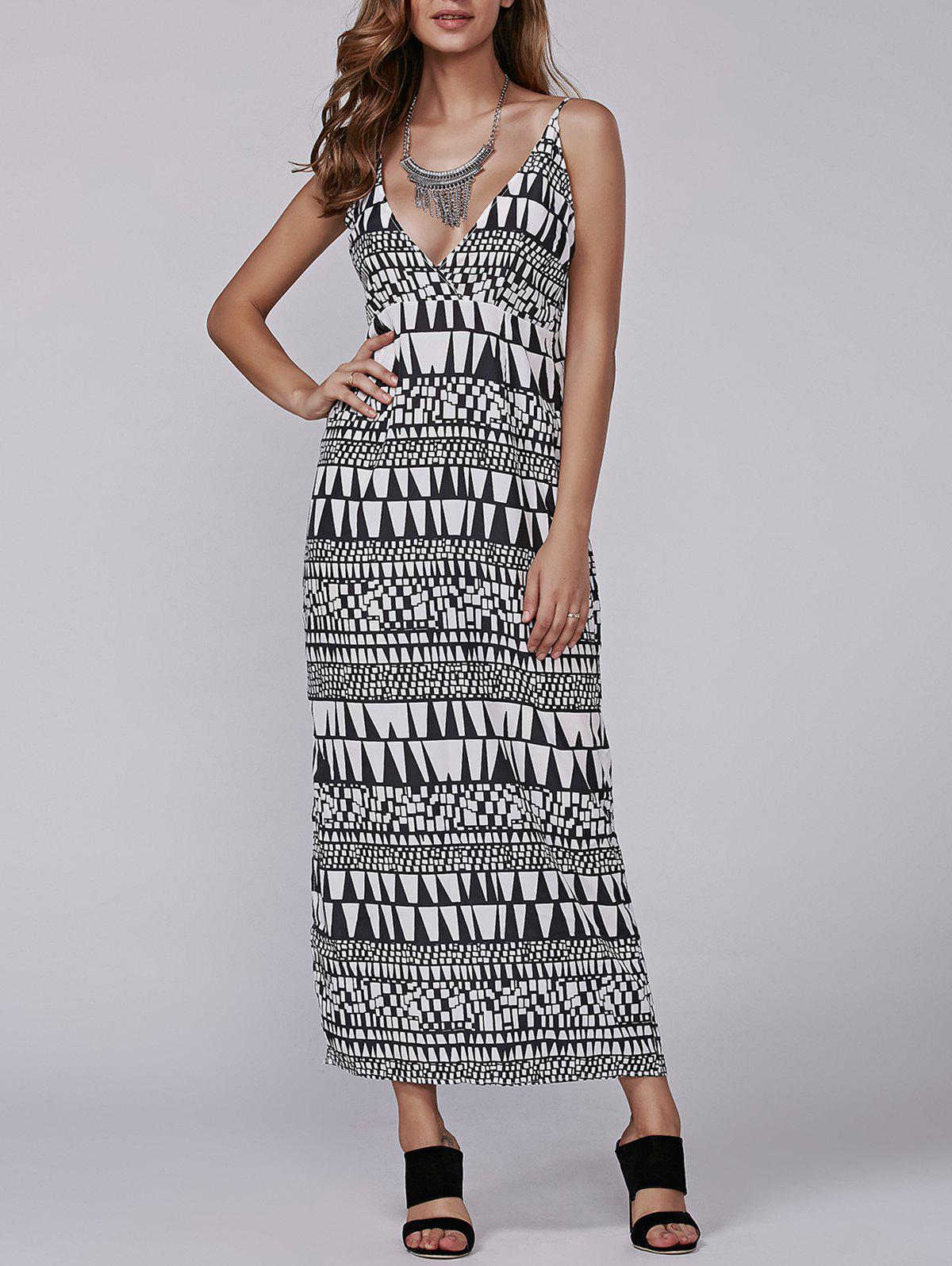 Late Summer Aztec Geometry Print Maxi Dress
