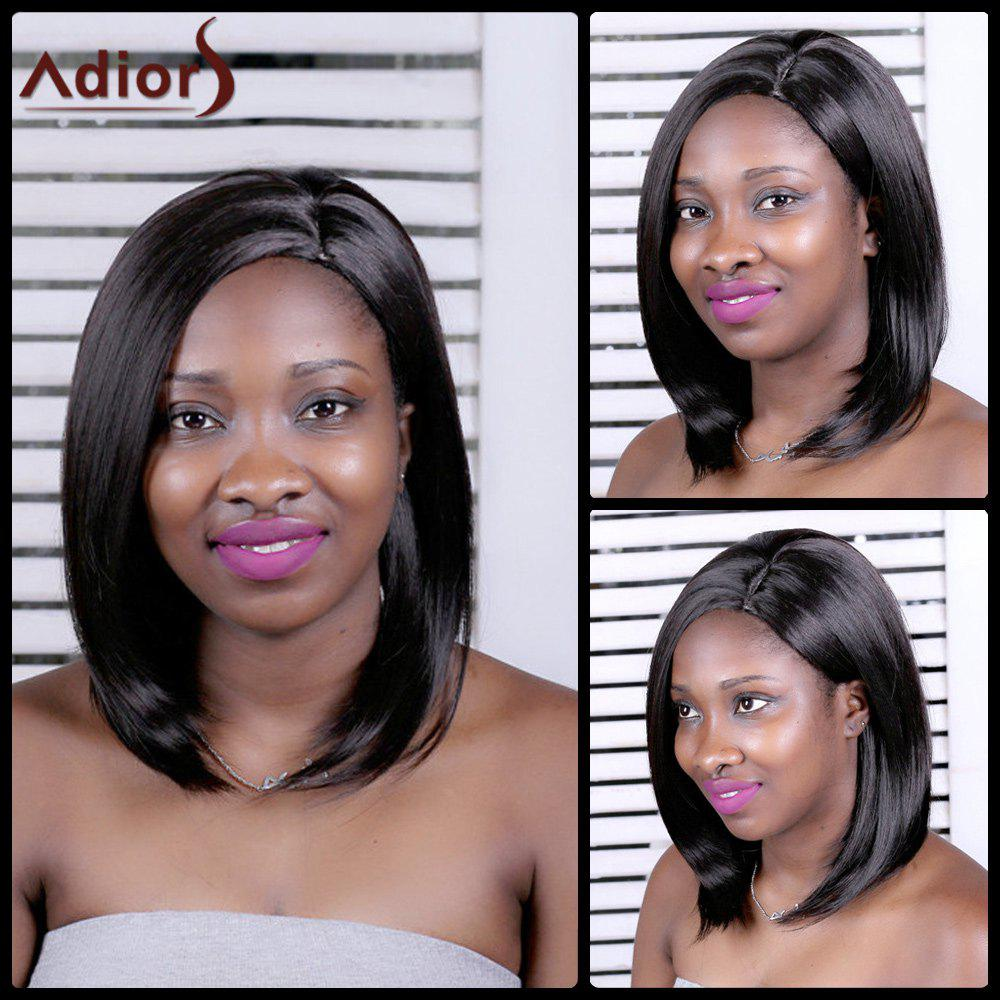 Adiors Straight Long Inclined Parting Synthetic Wig - BLACK BROWN