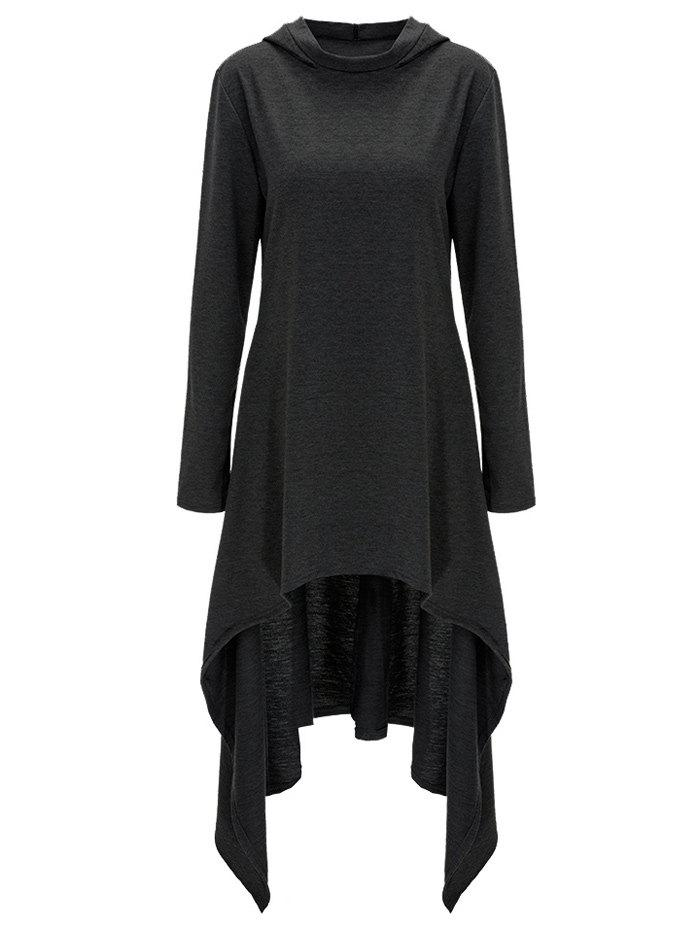 High Low Hooded Dress with Long Sleeves - BLACK GREY 3XL