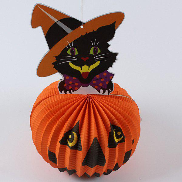 Halloween Party Supplies Paper Pumpkin Cat Lantern Décoration - Orange
