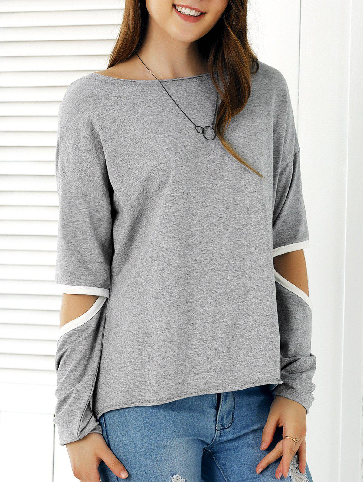Casual Cut Out Sleeve Hit Color T-Shirt - LIGHT GRAY XL