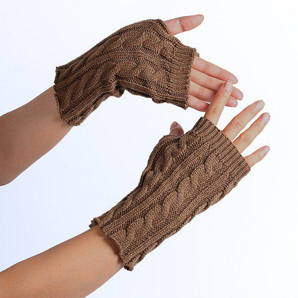 Winter Crochet Hemp Flowers Knitted Fingerless Gloves - KHAKI