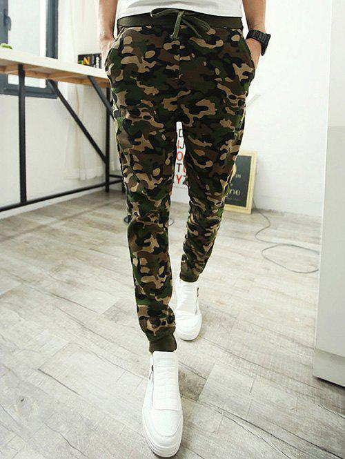 Camo Single Pocket Back Drawstring Jogger Pants - CAMOUFLAGE M