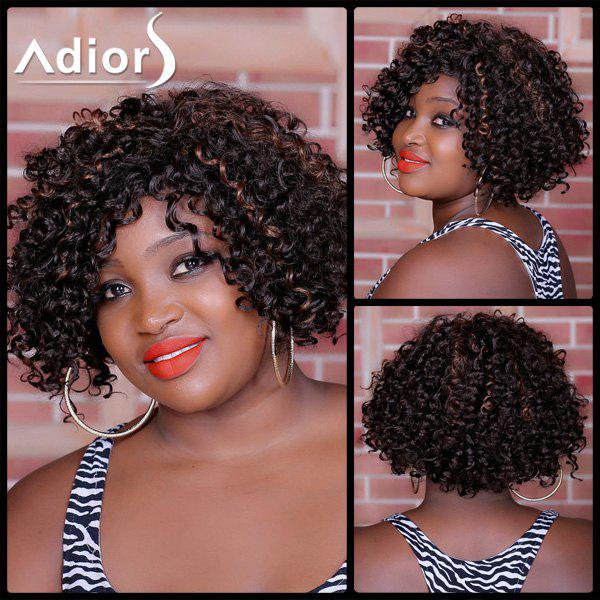 Adiors Highlight Curly Side Bang Short Synthetic Wig - COLORMIX