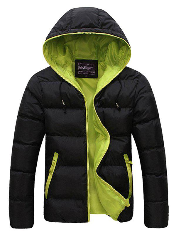 Drawstring Hooded Contrast Zipper Quilted Jacket - GREEN L