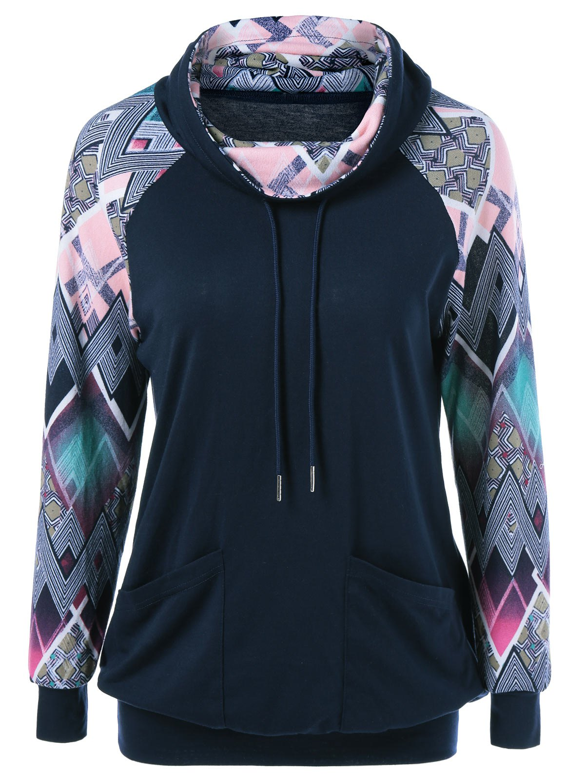 Print Sleeve Double Pockets Sweatshirt - PURPLISH BLUE M