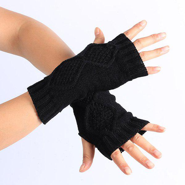 Rhombus Line Embelished Knit Fingerless Gloves - BLACK