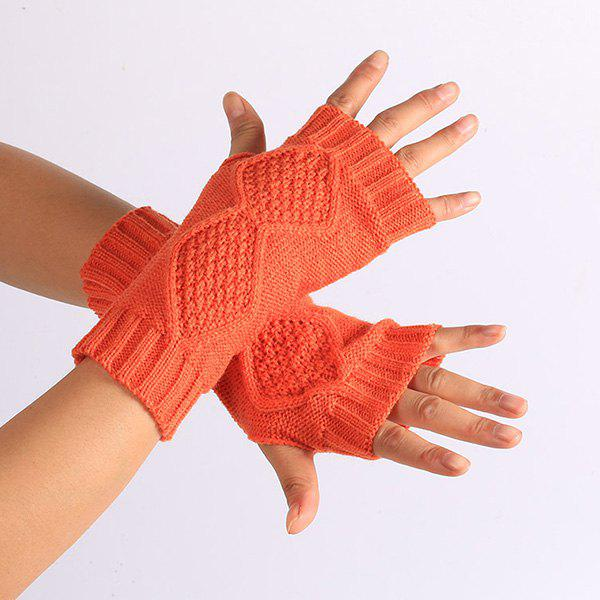 Rhombus Line Embelished Knit Fingerless Gloves - DARKSALMON