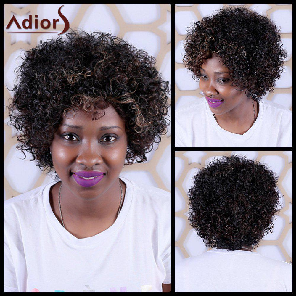 Adiors Highlight Short Oblique Bang Curly Synthetic WigHair<br><br><br>Color: COLORMIX