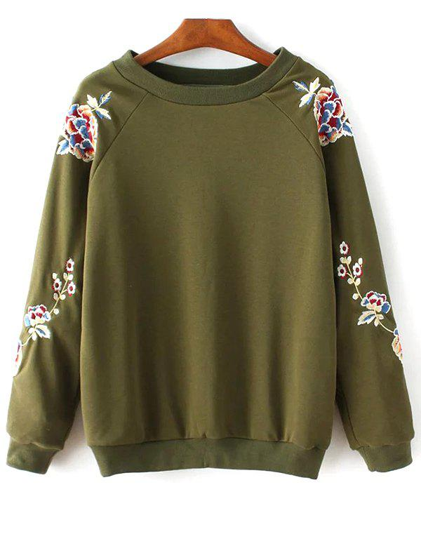 Round Collar Floral Embroidered Sweatshirt - ARMY GREEN S
