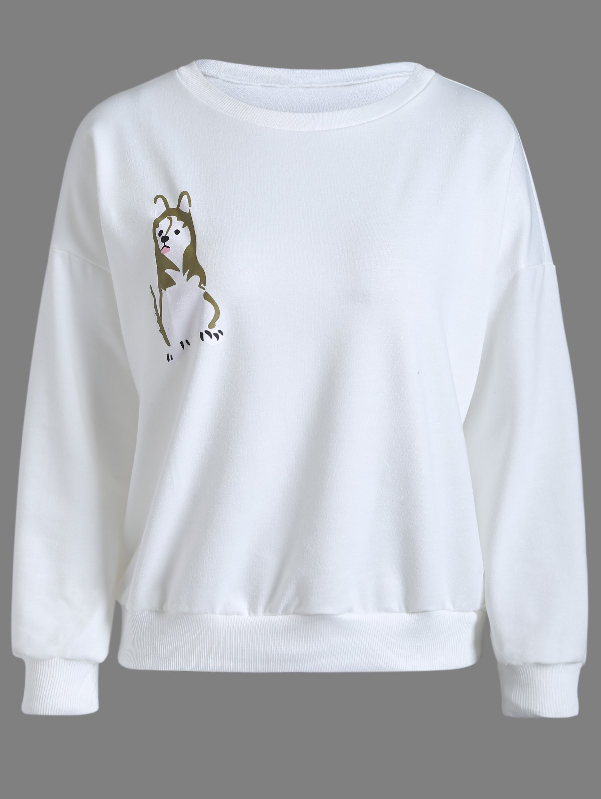 Animal Print Pullover Sweatshirt - WHITE M