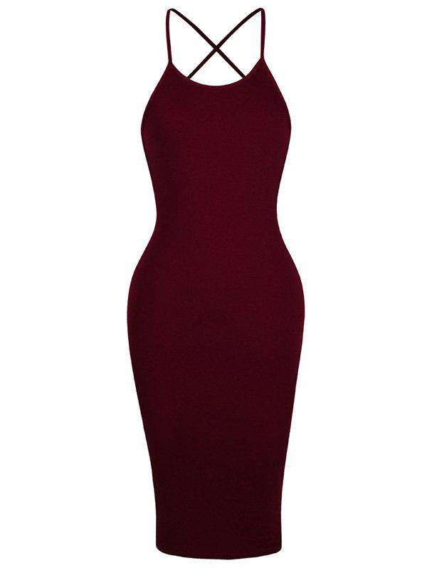 Backless Criss Cross Spaghetti Strap Short Night Out Dress - WINE RED XL
