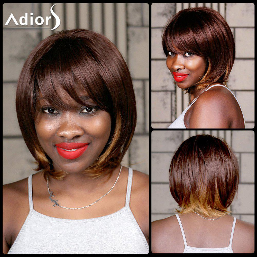 Adiors Straight Medium Oblique Bang Highlight Synthetic Wig - COLORMIX