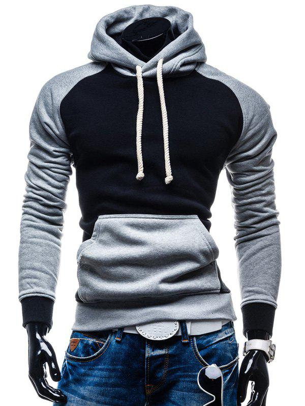 Color Block Pullover Kangaroo Pocket Hoodie - BLACK M