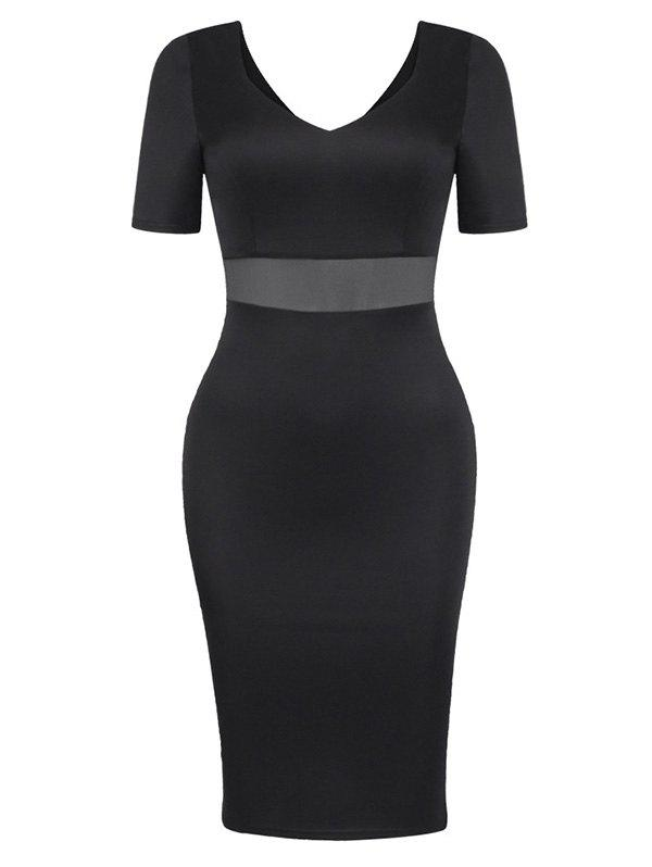 Mesh See Through Dress Tight - Noir XL
