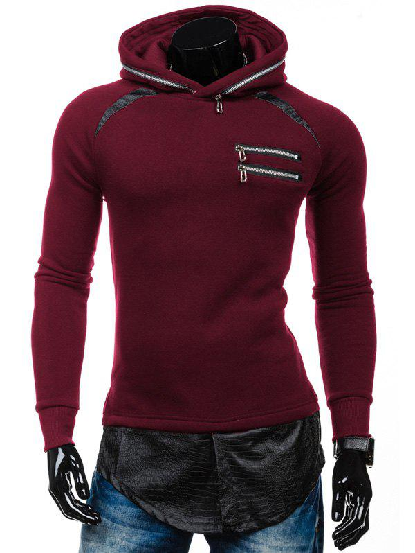 PU Spliced ​​Zipper Embelllished Faux Twinset Hoodie - Rouge 2XL