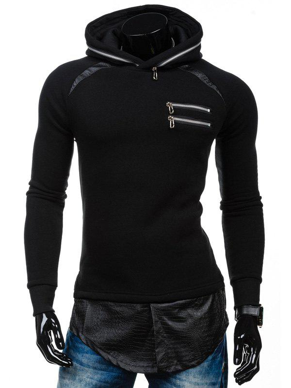 PU Spliced ​​Zipper Embelllished Faux Twinset Hoodie - Noir L